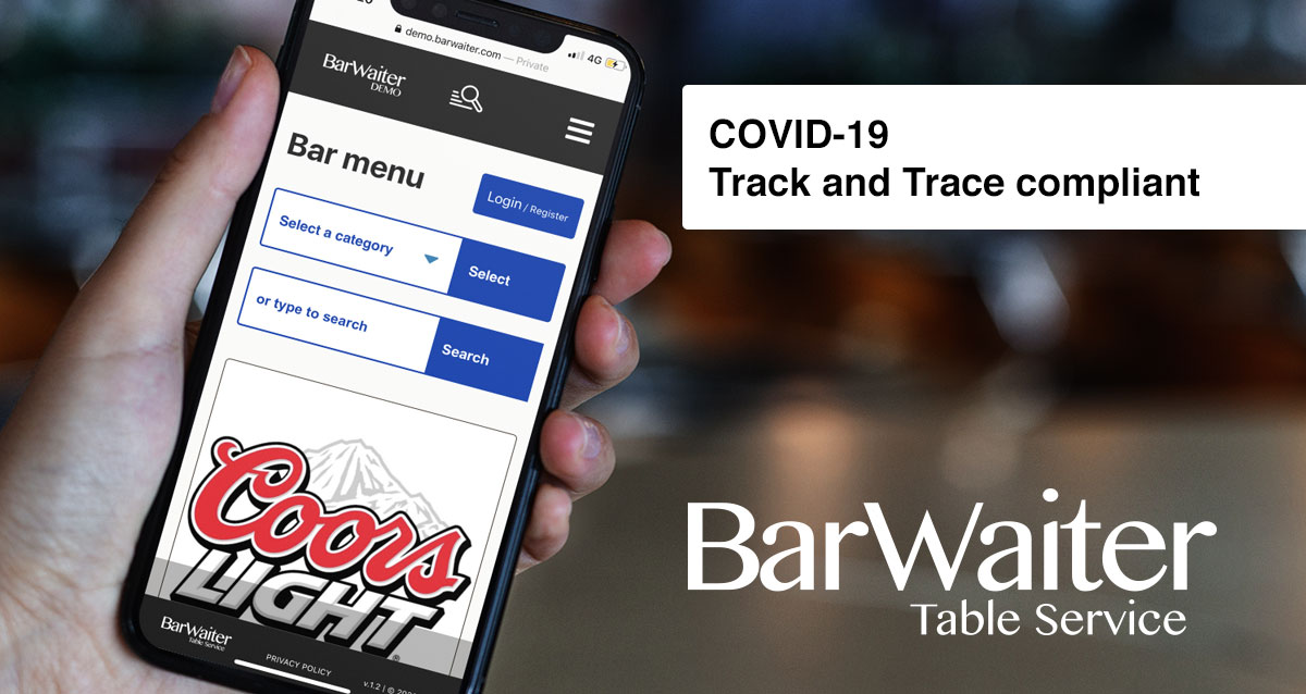 BarWaiter COVID-19 Tack and trace compliant